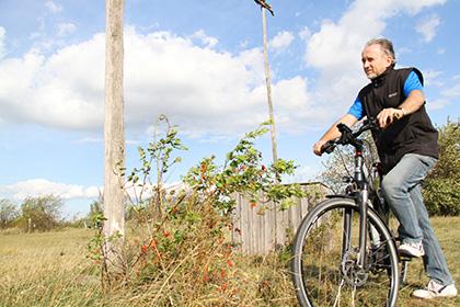 Rudolf Mürner mit Fahrrad